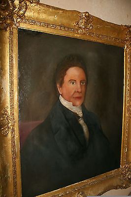 Large Early 19Th Century Antique Oil Painting On Canvas Portrait A Gentleman