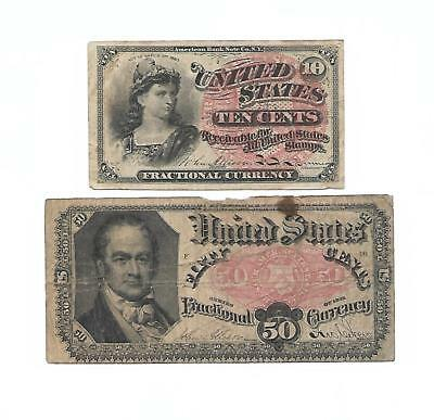 Set of 2 U.S. Fractional notes: 10 CENTS & 50 CENTS  1860s/70s
