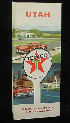 Vintage 1961 Texaco Utah Road Map Bryce Canyon Zion National Parks