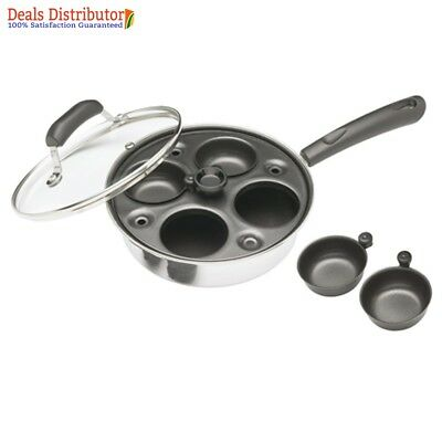 Kitchen Craft Induction Carbon Steel Four Hole Non Stick Egg Poacher Pan and Cup