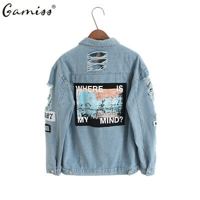 Women hollow Jeans Jacket letter printed washing denim Coat long sleeve outwear