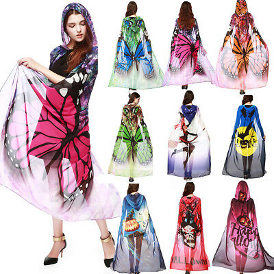 Creative Chiffon Butterfly Halloween Hooded Cape Scarf Multi-colors for Women