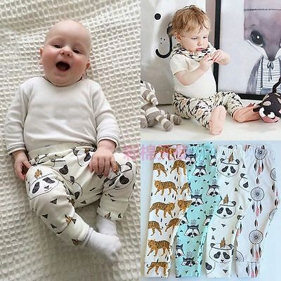 Toddler Infant Kids Unisex Boy Girl Cartoon Print Harem Pants Trousers Leggings