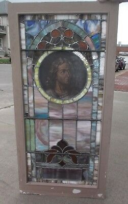 "STAINED GLASS CHURCH WINDOW - Face of Saint - approx. 26"" x 54"""