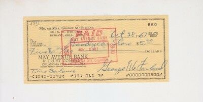 Spanky George McFarland Signed Autographed Cancelled Check Little Rascals