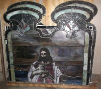 "Pair of CHURCH STAINED GLASS JESUS WINDOWS (Each measures 48"" T x 44 1/2"" W)"