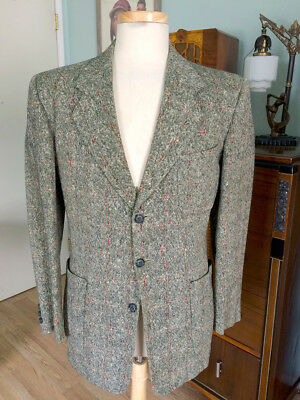 Vintage 1940's Red Flecked Tweed Sport Coat! Fabric From Great Britain!