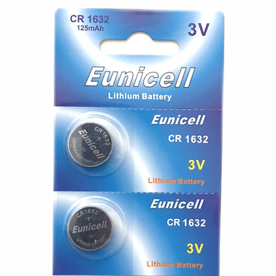2 X Eunicel Cr1632 Dl1632 Kl1632 Br1632 L1632 Lithium Coin/Button Cell Battery