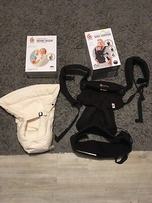 Ergobaby 360 4 way baby carrier pure black with newborn insert hardly used