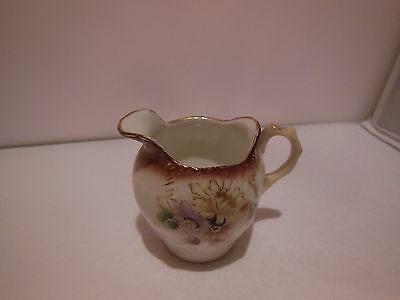 Beautiful Small Antique Pitcher with Purple Flowers Vase