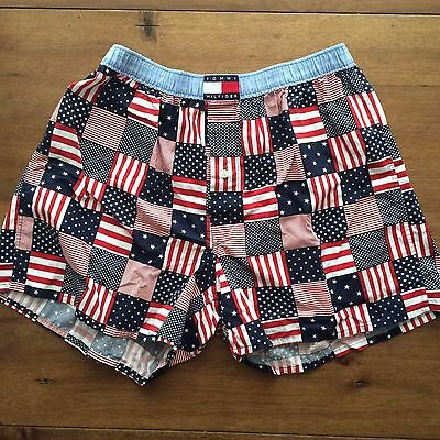 Mens Large Tommy Hilfiger Vintage Boxer Shorts USA Flag EUC Cotton 90s