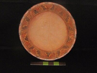 Pre Columbian, Mayan Polychrome Pottery Plate, Early/Late Classic 300 - 900 A.D.