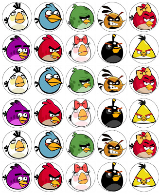 Angry Birds x 30 Cupcake Toppers Edible Wafer Paper Fairy Cake Toppers