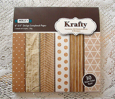 """Pack of 30 sheets of MOLLYS 6 inch x 6 inch Scrapbook paper """"KRAFTY"""""""