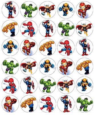 Marvel Avengers x 30 Cupcake Toppers Edible Wafer Paper Fairy Cake Toppers