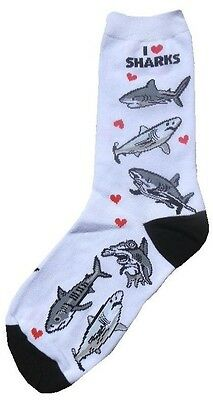 I love Sharks (41302) Women Socks Cotton New Gift Fun Unique Fashion