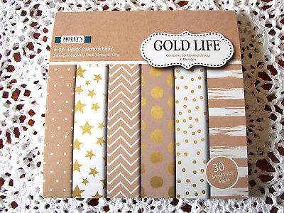 """Pack of 30 sheets of MOLLYS 6 inch x 6 inch Scrapbook paper """"GOLD LIFE"""""""