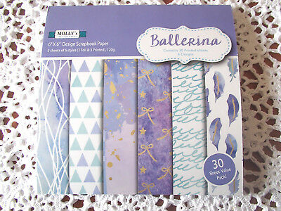 """Pack of 30 sheets of MOLLYS 6 inch x 6 inch Scrapbook paper """"BALLERINA"""""""