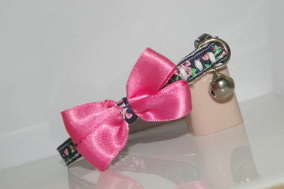 Glamour Puss Navy Blue Pink Bow Adjustable Quick Release Cat Collar