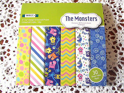"""Pack of 30 sheets of MOLLYS 6 inch x 6 inch Scrapbook paper """"THE MONSTERS"""""""