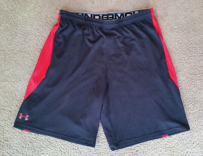 Under Armour Men's Athletic Basketball Workout Shorts Black Red Loose Fit Sz XL