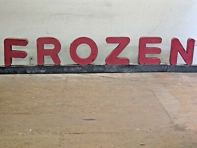 """Vintage Large Cut Out Metal Letters Sign """"Frozen"""" From a Market"""