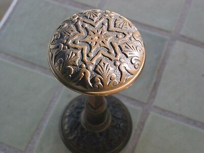 2 DECORATIVE Matching Solid Brass / Bronze ANTIQUE DOOR KNOBS with spindle