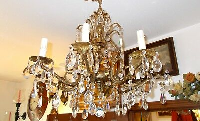 Fabulous Antique Brass Nob Hill Architectural Salvage Grand 8 Arm Chandelier - M