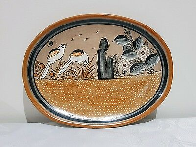 VTG Hand Painted Signed Artist Pottery Ceramic Plate - Made in MEXICO Decoration