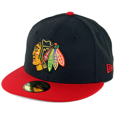 New Era 5950 Chicago Blackhawks Fitted Hat (Black/Scarlet Red) Men's NHL Cap