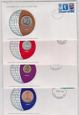East Caribbean Kitts Antigua Dominica Grenada 1965 All Nations Coins (4 Covers)