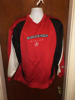 mens budweiser racing red black hoodiehase authentic size large