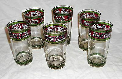 Lot of 6 Vintage Stained Glass Drink Coca Cola 12 oz. Glasses VG