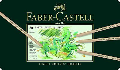 Faber-Castel PITT Pastel Pencils In A Metal Tin (60 Pack), Assorted Colours