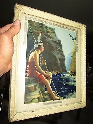 Antique Indian maiden print embossed floral edge painted wood frame wood backing