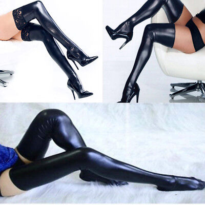 Women's Gothic Punk Wetlook Shiny Stretch PU Thigh High Stockings W/ Lace Rubber