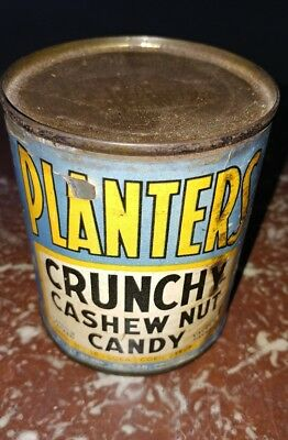 1946 Planters Mr. Peanut Crunchy Cashew Candy Tin Can (sealed- unopened w/key)