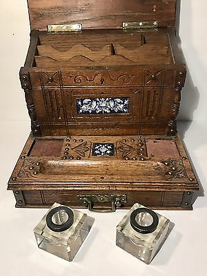 Antique Eastlake 1800s Inkwell Cabinet/Writing Box w/Delft Porcelain Plaques