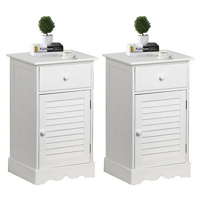 Set of 2 PCS Bedside Cabinet 1 Drawer 1 Door with 2 layers Storage Unit White