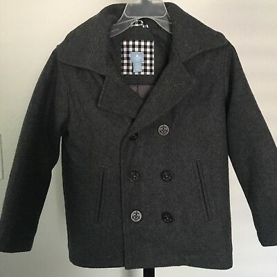 Baby Gap Boys Size 5T Gray Peacoat Wool Blend Anchor Buttons
