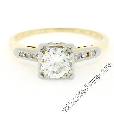 Antique Art Deco 14K TT .90ct Transitional Cut Diamond Solitaire Engagement Ring