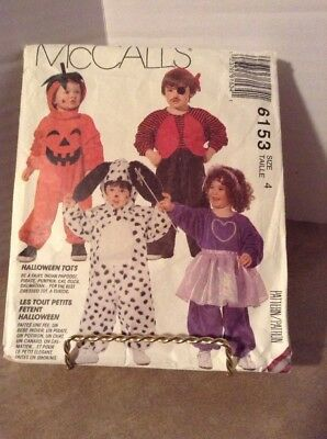 McCall Pattern #6153 Toddlers Costume Size 4
