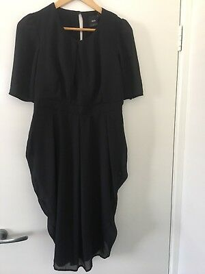 New Asos Black Tulip Maternity Short Sleeve Work Dress Size 10