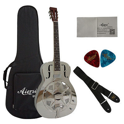 Gloss Chrome Plated O Style Bell Brass Electric Resonator Guitar with case