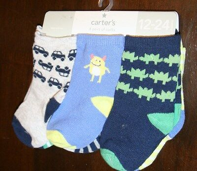 New NWT Carter's 6 Pairs Infant Baby Boys 12-24 Mo Socks Fits Size 4-7 Shoe