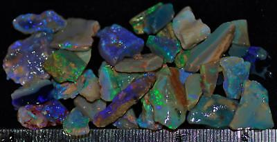 100 Carats Of Solid Quality Lightning Ridge Rough Rubbed Black Opal Parcel 99