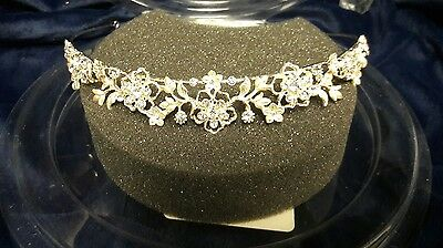 David's Bridal Mid Height Tiara with Swarovski Crystals Floral Soft Gold Brushed