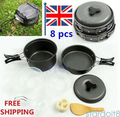 1-2 Man Camping Cooking Set Non-Stick Outdoor Cookware Picnic Pot Pan Bowl UK
