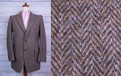 Vintage 1970s 2 Button Brown Herringbone Harris Tweed Jacket -40- DT51