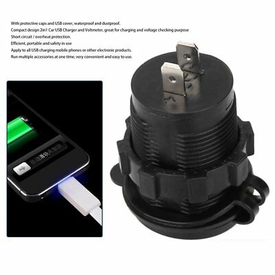 Waterproof Motorcycle USB Charger Socket With Dual USB Port Voltage Voltmeter FW